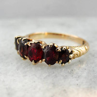 Victorian Garnet Ring, Antique Garnet Ring, All Original Gemstones, Antique Rose Gold Ring MUUUWE-R