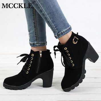 MCCKLE Plus Size Ankle Boots Women Platform High Heels Lace Up Buckle Strap Shoes Thick Heel Short Boot Ladies Zipper Footwear