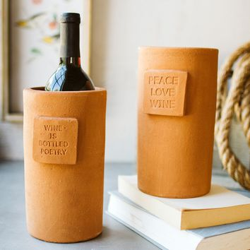 Clay Wine Chillers - One Each Saying (Set of 2)