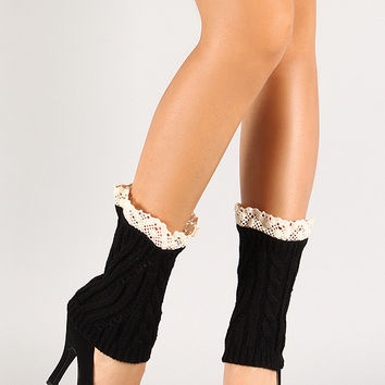 Patterned Knit Crochet Trim Leg Warmers