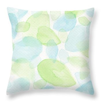 "Green and Blue Leaves Throw Pillow 14"" x 14"""