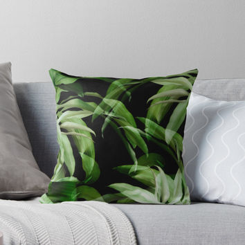 'Tropical leaves. green and black' Throw Pillow by VanGalt