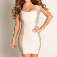 Designer Sexy Beige and Mocha Panel Bandage Dress