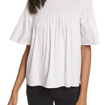 Rebecca Taylor Smocked Sateen Top | Nordstrom