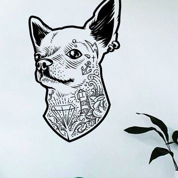 Tattoo Chihuahua Dog Wall Decal Sticker Room Bedroom Art Vinyl Decor Decoration Teen Animal Puppy Adopt Rescue