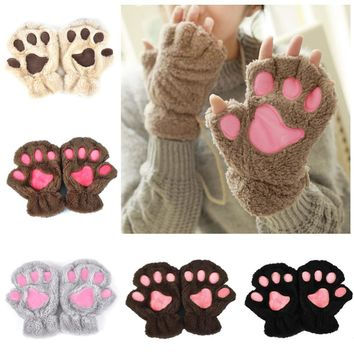 Winter Women Cute Cat Paw Claw Plush Mittens Short Fingerless Finger Half Gloves -Y107