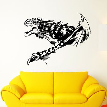 Vinyl Wall Decal Fantasy Abstract Fire-Breathing Winged Dragon Stickers Unique Gift (1948ig)