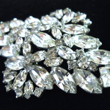 Clear Rhinestone WEISS Brooch, Diamond Shape, Signed Vintage