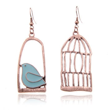2016 Vintage Gold Color Fashion Design Oil Bird-Cage Lovely Drop Earrings For Women Brincos Peace Dove Bird Cage Dangle Earrings