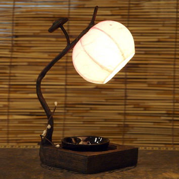 Rice Paper Round Small Mini Pink Shade Flexible Adjustable Ball Lantern Brown Asian Decorative Bedside Accent Decor Table Lamp