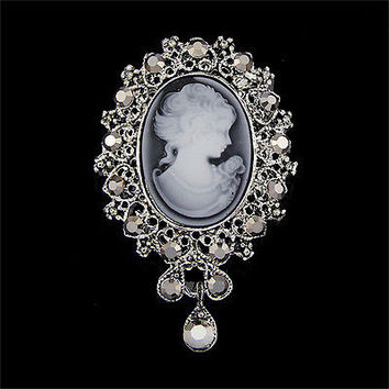 Vintage Cameo Victorian Style crystal Wedding Party Women Pendant Brooch Pin HUC