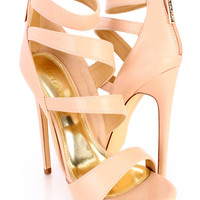 Nude Strappy Open Toe High Heels Faux Leather