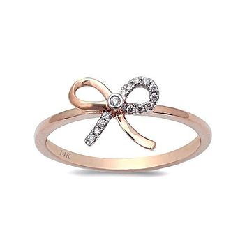 0.05ct Pavé Round Diamonds in 14K Gold Bow Ribbon Ring