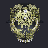 Black Full Face Skull Men Women Metal Laser Cut Silver Masquerade Party Masks Gold Red Ball Rhinestone Venetian Halloween Mask