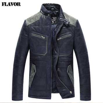 Men's real leather jacket pigskin padding cotton warm Genuine Leather jacket men slim leather coat