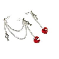Swarovski Crystal Hearts and Keys Double Piercing Earring