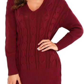 Burgundy Oversized Cozy up Knit Sweater