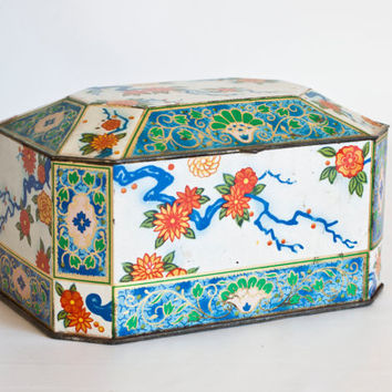 Vintage Asian Print Tea Tin Biscuit Jar, Blue Red Rectangular Tin Storage Box, Hinged Lid, Made in England, Tin Box Co
