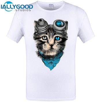 Cute Space Cat Funny Design Animal T-Shirt Cheapest Brand Clothing Hipster Men T Shirt Plus Size Cool Tops Tee Free Shipping 6XL