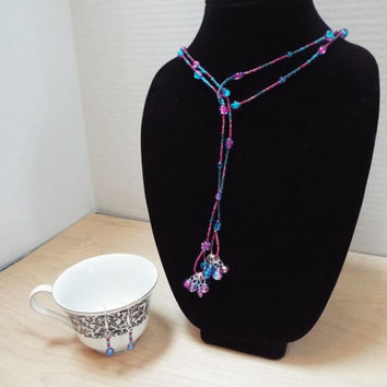 "Lariat Necklace, Handmade 60"" Glass Purple and Blue Beads Lariat Necklace with Matching Earrings, Wrap Around Necklace Set"