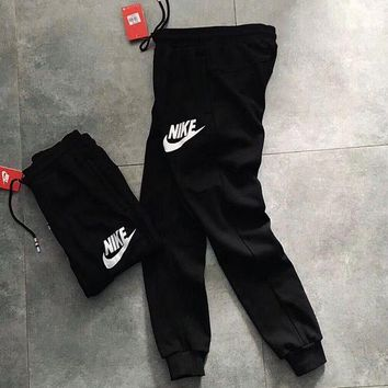 PEAPON Nike Woman Men Black Sports Casual Trousers Pants