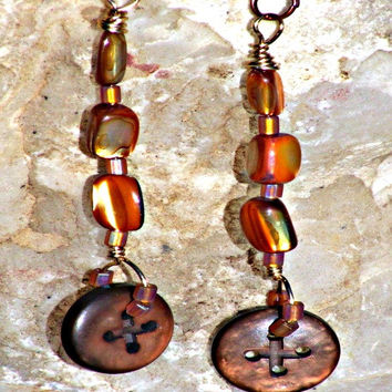 Vintage Button Earrings ,MOP Earrings, Beaded Earrings, Direct Checkout, Dangle Woman
