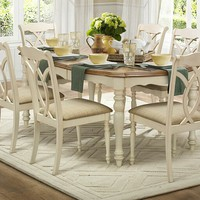 7 pc Azalea collection two tone natural and antique white wood dining table set with upholstered seats