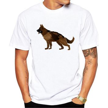 Cartoon German Shepherd T-Shirt - Men's Tops