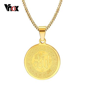 Vnox Allah Necklace Round Shaped Surgical Steel Necklace for Women Men Prayer Jewelry
