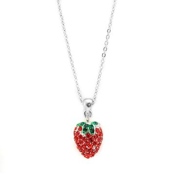 Red Strawberry with Top Necklace