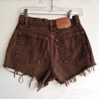 Brown Levi High Waisted Shorts Vintage Denim Jean Shorts Size 3/4