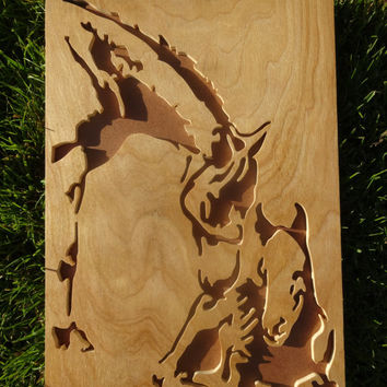 Wooden Horse and Foal Portrait