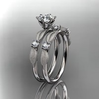 Spring Collection, Unique Diamond Engagement Rings,Engagement Sets,Birthstone Rings -  14kt white gold diamond unique leaf and vine engagement ring,wedding ring ADER177S