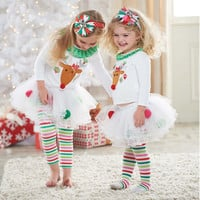 Children Christmas Costume Baby Merry Christmas Pajamas Suit For Girl Christmas Reindeer Clothing Set t shirt+Striped Culottes