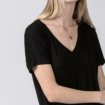 Tie Bottom Basic V-neck Tee - Black