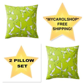 "NEW Ikea Sommar 20"" x 20"" Cushion Cover, Green Pears - SET OF 2!"