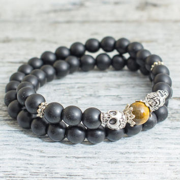 Double wrap matte black onyx beaded double silver skull and a tiger eye bead stretchy bracelet, mens bracelet, womens bracelet