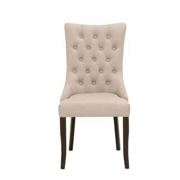 Button Tufted Dining Chair With Flared Back Feet, Cream And Brown, Set Of Two - SIF-5135-BMST