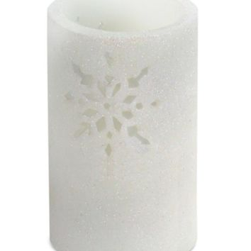 """6"""" White Glitter Snowflake Cut-Out Battery Operated Flameless LED Wax Christmas Pillar Candle"""
