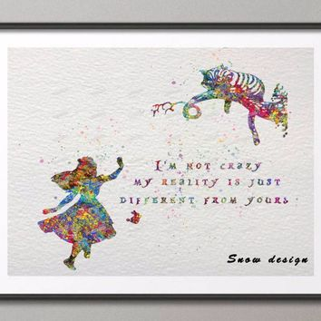 Original Alice in Wonderland Quote watercolor canvas painting Nursery wall art poster print Pictures Home Decor wall hanging