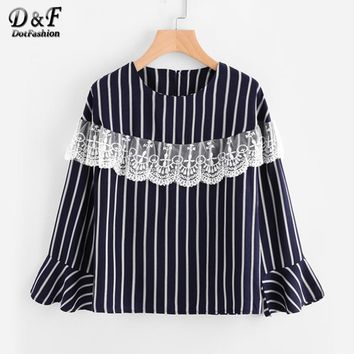 Embroidery Lace Layered Vertical Striped Top Navy Round Neck Tunic Blouse Autumn Long Sleeve Ruffle Blouse