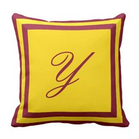 Customizable Burgundy and Gold Monogram Pillow
