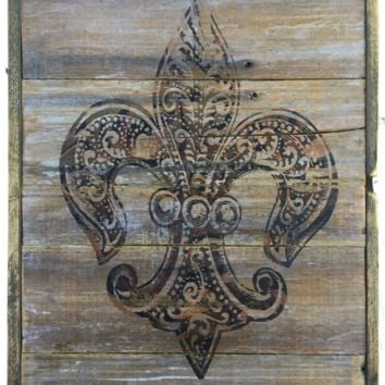 Fleur De Lis Rustic Burgandy Gold Decorative Wall Art