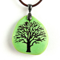 Tree of Life - Lime Green Magnesite - Engraved Stone Pendant