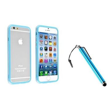 "Insten Clear/Sky Blue Bumper Frame Case with metal Button+Touch Stylus For Apple iPhone 6 4.7"" inch - Walmart.com"