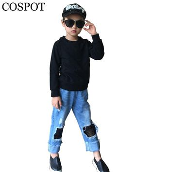 COSPOT Baby Boys Girls Plain Color Sweatshirt Kids Autumn Cotton Gray Black T Shirt Children Fashion Sweater Boy Tops 2018 25F