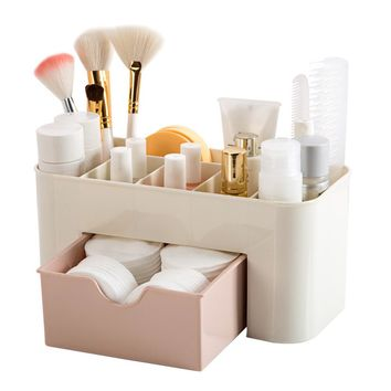 Saving Space Desktop Comestics Makeup Storage Drawer Type Box makeup organizer make up organizador escritorio 22X10X10.3 cm