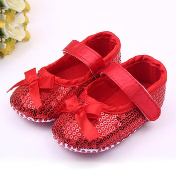 First Walker For Baby Infant Sequin Infant Soft Sole Non-slip Footwear Shoes Soft Bottom Shoes With Bow