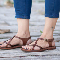 Free Shipping, Brown Leather Sandals, Brown Sandals, Summer Shoes, Flat Sandals