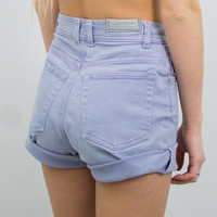 Vintage (Size XS) Lavender High Waisted Denim Shorts